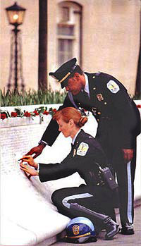 officers the the Memorial wall