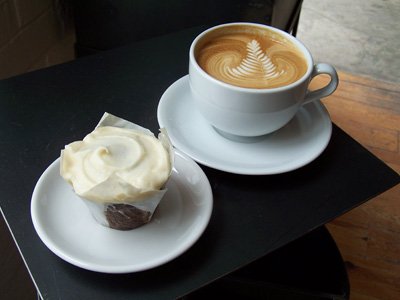 Baked and Wired cupcake and latte