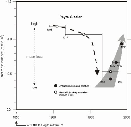 Past-century and recent decadal-order variations in mass balance of Peyto glacier
