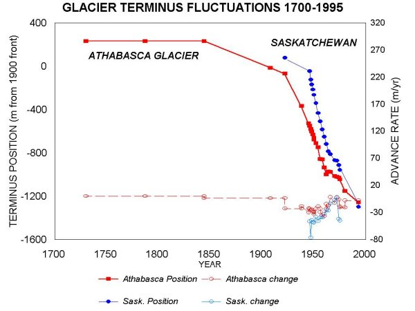 Terminus fluctuations at Saskatchewan and Athabasca Glaciers since 1700