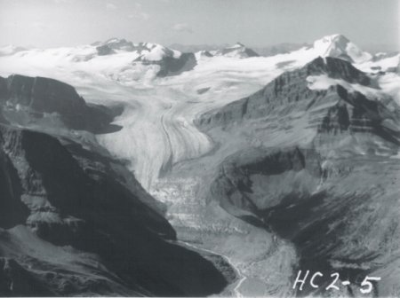 peyto glacier in 1966 in the Canadian Rockies