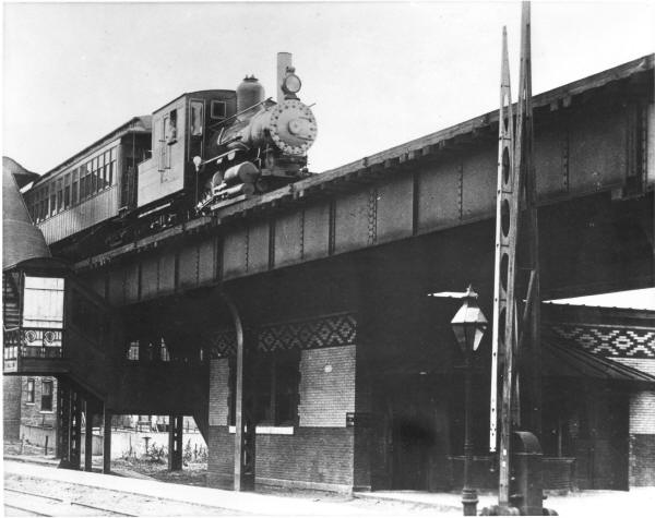 early steam train on Chicago's L