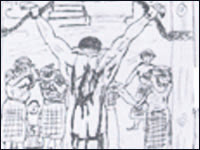 Jailhouse sketches, including this one containing references to 'jihad,' 'holy war' and 'infidels' were entered into evidence in the 2003 trial of convicted D.C. sniper Lee Boyd Malvo. His attorneys said they were evidence of indoctrination by Malvo's accomplice, John Allen Muhammad. But the only drawing shown in a new one-hour special on CNN shows Malvo shedding tears.