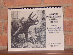 antique prehistoric animal prints calendar 2005