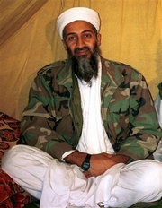 This undated photo shows al-Qaida leader Osama bin Laden in Afghanistan. bin Laden called on the Europeans to stop helping the United States in the war in Afghanistan, according to excerpts of a new audiotape broadcast Thursday on Al-Jazeera television.  (AP Photo, File)