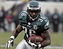 Eagles running back Brian Westbrook, on his way to scoring a touchdown.<br /><br />
