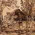 Rembrandt: Cottage among Trees