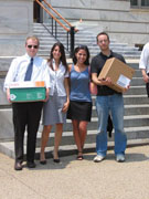 EPIC Staff and Volunteers deliver more than 2,000 constituent letters to Congress. Pictured here, left to right, are Chris Breuer, EPIC intern; Julia Stutz, EPIC volunteer; Emily Stivers, Advocacy and Research Fellow; and Geoff Schaefer, EPIC intern.