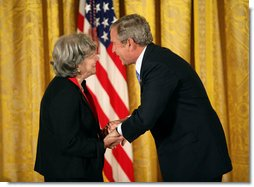President George W. Bush presents the 2007 National Humanities Medal to scholar Ruth R. Wisse of Cambridge, Mass., Thursday, Nov. 15, 2007, in the East Room. White House photo by Eric Draper