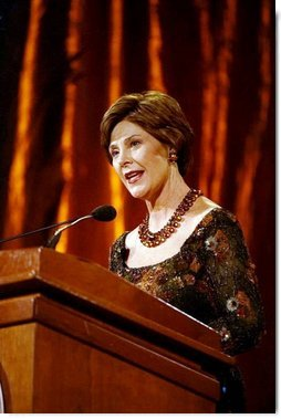 Laura Bush delivers remarks at the 2003 National Book Festival Gala Performance and Dinner at the Library of Congress Oct. 3, 2003, in Washington, D.C.  White House photo by Susan Sterner