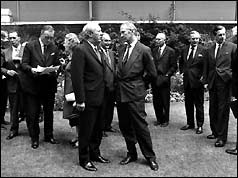 Edward Heath in conversation with his Employment Minister Robert Carr (r)