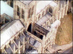 Photo of the damaged wing of York Minster