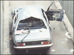 The wreckage of Airey Neave's car