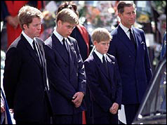 Earl Spencer, Princes Wiliam, Harry and Charles