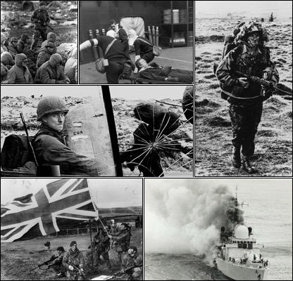 Clockwise from top left: Captured Argentines, injured soldier, UK advance, HMS Sheffield, troops raise flag, Argentine soldiers