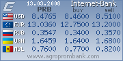 Exchange rates from www.agroprombank.com