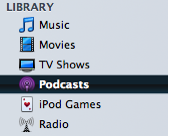 Podcasts library in iTunes