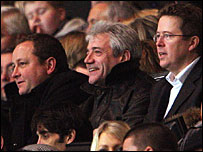 Kevin Keegan takes his seat in the stands alongside Newcastle owner Mike Ashley (left) and chairman Chris Mort