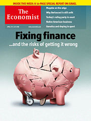 Cover of the 05 April 2008 issue of The Economist showing an image related to fixing the Credit crunch caused by the subprime mortgage crisis.