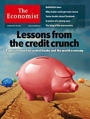 Cover of the 20 October 2007 issue of The Economist showing an image related to a Credit crunch caused by the subprime mortgage crisis.