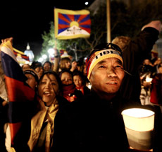 Kalsang Gyaltsen, foreground, chants during a pro-Tibet rally on Tuesday in San Francisco.