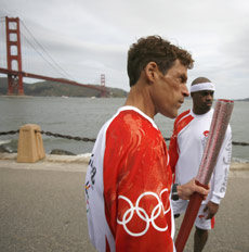 Olympic torch bearer Dean Karnazes, 44, of San Francisco participates in a media event on Tuesday in San Francisco.