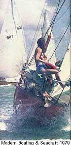 Photo of 1979 Miss Figurehead wet t-shirt competition winner aboard yacht