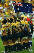 The Wallabies line up for the National Anthem during Rugby World Cup 2003