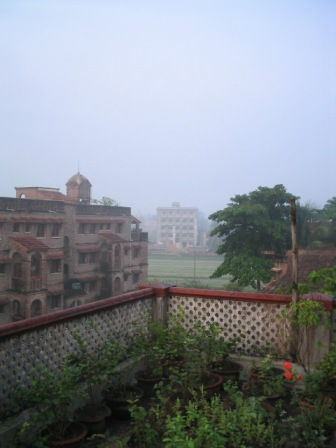 misty morning in Mayapur: