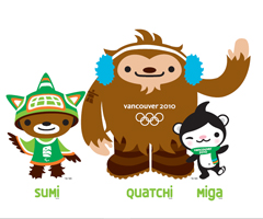 The three 2010 Olympic Winter Games mascots, Miga, Quatchi and Sumi, were introduced on Tuesday.