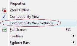 Internet Explorer Tools Menu with Compatibility Mode Selection