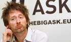 Thom Yorke, singer of rock band Radiohead, holds a news conference