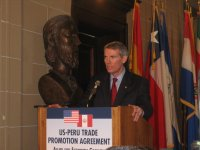 USTR Rob Portman addresses a crowd at the Organization of American States just prior to signing the U.S.-Peru TPA.