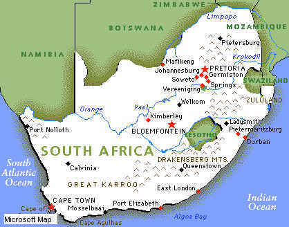 south africa map: