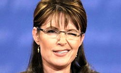 A picture of Sarah Palin flirting with the audience during the VP debate.