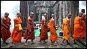Monks at Preah Vihear temple, on the disputed Thai-Cambodia border