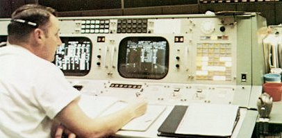 A photo of Flight Director for Apollo 8,Cliff Charlesworth, at his console