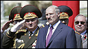 President Alexander Lukashenko and military chiefs at parade in Minsk, 3 July 08