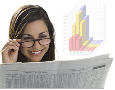 Woman Checking Stats and Reading an Article
