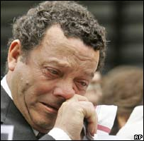 A man cries at the ceremony remembering those killed in the 1994 Buenos Aires attack