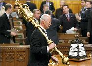 The Mace is removed from the House of Commons chamber  on Thursday after the Governor-General's decision to prorogue Parliament. Sean Kilpatrick/The Canadian Press