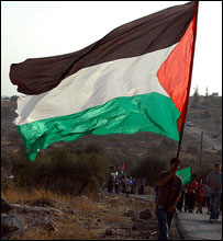 Bilin marcher with large Palestinian flag (Photo: Martin Asser)