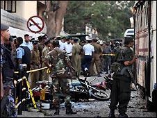 Scene of suspected suicide bombing in Colombo, Sri Lanka - 2/1/2009