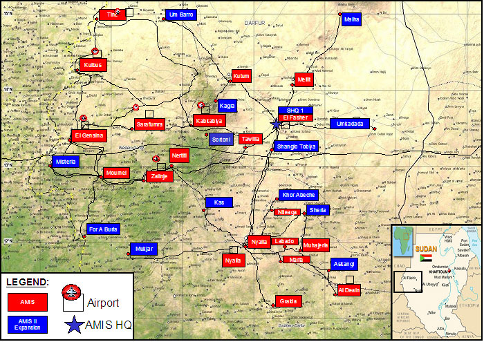 AMIS Locations in Darfur as of Sept 9, 2005