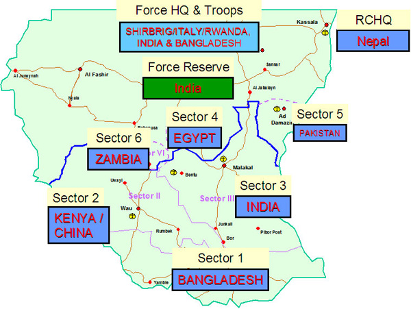 Map of UNMIS Sector Allocations