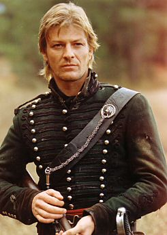 Sean Bean looking manly and hard as Sharpe and causing the Grande Armee to brick shit their trousers.