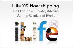 Introducing iLife '09. The new iPhoto, iMovie, GarageBand, and iWeb.