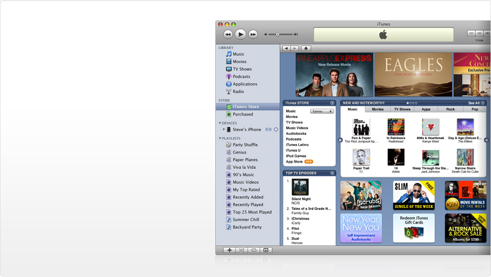 iTunes application showing the iTunes Store