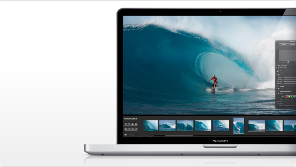 MacBook Pro 17-inch laptop computer showing Aperture photography software