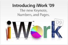 Introducing iWork '09. The new Keynote, Numbers, and Pages.